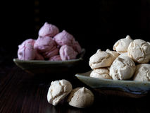 Meringue cookies pink and light brown Royalty Free Stock Photos