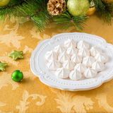 Meringue cookies on a plate. Stock Photo