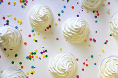 Meringue cookies sprinkles above Royalty Free Stock Photos