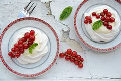 Meringue with cream and berries Royalty Free Stock Photography