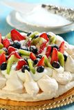 Meringue with cream and strawberries. Stock Photography