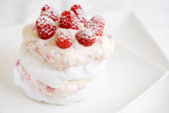 Meringue dessert. Delicious meringue with raspberry cream and fresh raspberries Royalty Free Stock Photo