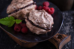 Meringue dessert with chocolate and raspberries Royalty Free Stock Image