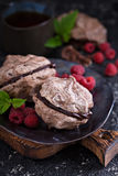 Meringue dessert with chocolate and raspberries. On dark background Stock Image