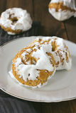 Meringue donuts on a white plate Royalty Free Stock Photography