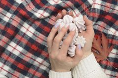 Meringue in female hands, checkered plaid. Fashionable concept royalty free stock photography