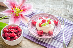 Meringue with fresh raspberries. On the wooden table Stock Image