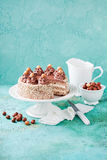 Meringue hazelnut cake with chocolate cream Stock Photos