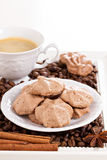 Meringue mocha cookies with coffee Royalty Free Stock Photo