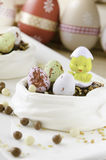 Meringue nest for a Easter dessert Stock Images