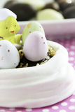 Meringue nest for a Easter dessert Royalty Free Stock Photos