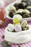 Meringue nest for a Easter dessert Stock Photo