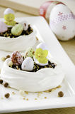 Meringue nest for a Easter dessert Royalty Free Stock Images