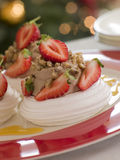 Meringue Nests filled with a Sweet Chestnut Cream. And Strawberries Royalty Free Stock Photography