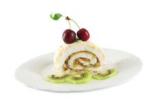 Meringue roll with cherries and kiwi Royalty Free Stock Photo