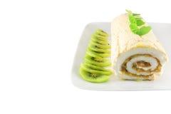 Meringue roll with kiwi Stock Photography