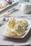 Meringue roulade with pistachio nut Royalty Free Stock Image