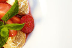 Meringue with strawberries in a sweet syrup Stock Photo