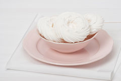 Meringue. Sweet Dessert Made From Whipped Egg. Whites And Sugar. French Cuisine Stock Image