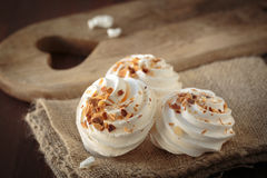 Meringue with toasted almonds Royalty Free Stock Image