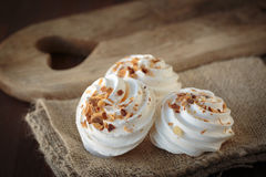 Meringue with toasted almonds Stock Photography
