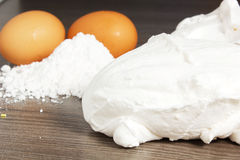 Meringues. On the table with eggs Royalty Free Stock Images
