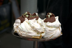 Meringues  with chocolate Stock Photography