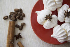 Meringues with cinnamon Royalty Free Stock Photography