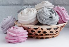 Meringues with flowers,dessert zephyr rose sweet stock photography