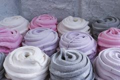Meringues with flowers zephyr dessert sweet food. Cake delicious colorful flower rose white red pink gray lilac gourmet sugar eat beauty isolated object cream stock photos