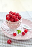 Meringues with fresh raspberries Royalty Free Stock Images