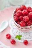 Meringues with fresh raspberries Stock Photography