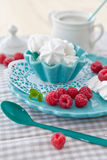 Meringues with fresh raspberries. On a pink plate Royalty Free Stock Image