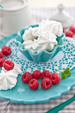 Meringues with fresh raspberries. On a pink plate Royalty Free Stock Images