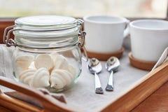 Meringues in glass jar Stock Image