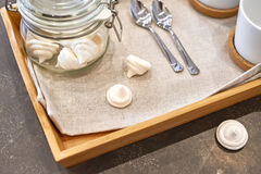 Meringues in glass jar Stock Photo