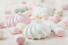 Meringues and marshmallows Stock Images
