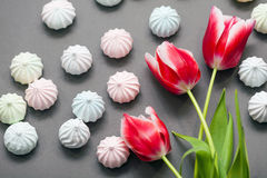 Meringues in pastel colors with three red tulips on grey background. Royalty Free Stock Image