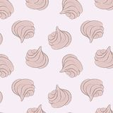 Meringues sweet pattern. Creamy delicious marshmallow sugar texture. Bakery decoration. Delicious dessert print. Cute Stock Photos