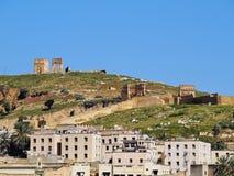 Merinid坟茔废墟在Fes,摩洛哥 库存照片