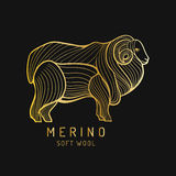 Merino sheep logo, label. Vector ram illustration. Ewe soft wool sign. Fleece icon background. Royalty Free Stock Photography