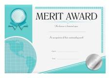 Merit Award Certificate. A merit certificate in a modern design vector illustration