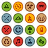 Merit badges. Set of merit achievement badges for outdoor activities royalty free illustration