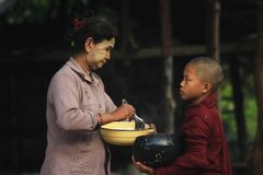 Morning activities of the monks in Burma. stock photos