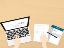 Meritförteckning för pekare för hand för bästa sikt för jobb för fynd för bärbar dator för våg för anteckningsbokskärmmusik Fotografering för Bildbyråer