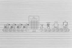 Meritförteckningar på produktionslinjen som skriver in ett företag för att komma med sakkunskap Arkivfoton
