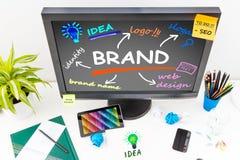 Merk Brandmerkende Ontwerp Marketing Tekening stock afbeeldingen