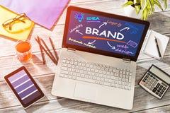 Merk Brandmerkende Ontwerp Marketing Tekening royalty-vrije stock fotografie