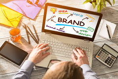 Merk Brandmerkende Ontwerp Marketing Tekening stock foto's