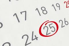 Merk de datum nummer 25 Royalty-vrije Stock Fotografie